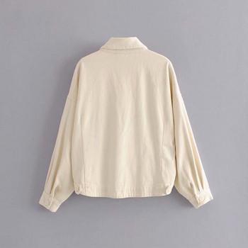 Ασύμμετρό γυναικείο σακάκι άνοιξη-φθινόπωρο με τσέπες και κουμπιά σε λευκό χρώμα