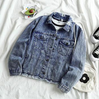 Γυναικείο τζιν σακάκι με κουμπιά και κολάρο