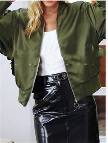 Γυναικείο μπουφάν για το  φθινοπώρου με φερμουάρ σε πράσινο χρώμα