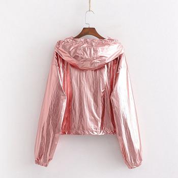 Σύντομο μπουφάν φθινοπωρινό  με μακρύ μανίκι και κουκούλα σε ασήμι και ροζ χρώμα