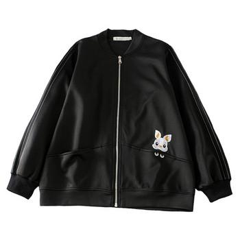 Μοντέρνο γυναικείο έκο δερμάτινο  μπουφάν  με κεντήματα σε μαύρο χρώμα