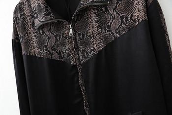 Γυναικείο  καθημερινό μπουφάν ε φερμουάρ και μακρύ μανίκι σε μαύρο χρώμα