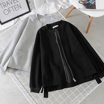 Νέο μοντέλο  φθηνοπωρινό γυναικείο μπουφλαν με φερμουάρ σε μαύρο και γκρι χρώμα