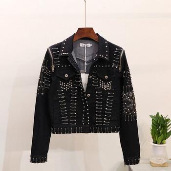 HIT  μοντέλο γυναικείο μοντέρνο μπουφάν με μεταλλικά στοιχεία σε μαύρο και μπλε χρώμα