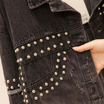 Γυναικείο τζιν μπουφάν με τρουξ σε μαύρο χρώμα