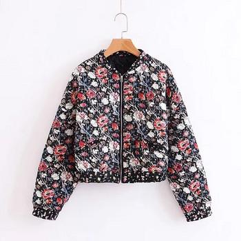 Γυναικείο μπουφάν  για το φθινόπωρο με φερμουάρ και λουλουδάτο πριντ σε μαύρο χρώμα