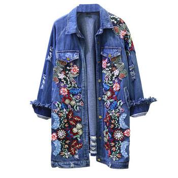 Μακρύ γυναικείο τζιν μπουφάν  με floral κεντήματα