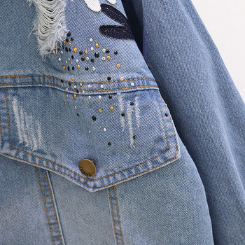Γυναικείο μπουφάν φαρδύ σχέδιο σε ανοχτό και σκούρο χρώμα