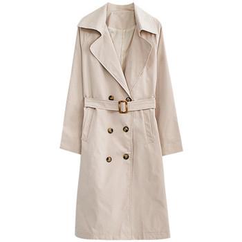 Есенно дамско дълго палто с копчета и колан в син и бежов цвят