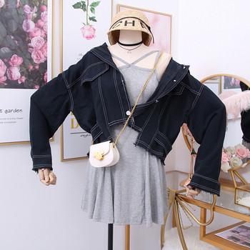 Νέο μοντέλο σύντομο γυναικείο μπουφάν με κουμπιά και σχισμένα μοτίβα σε διάφορα χρώματα