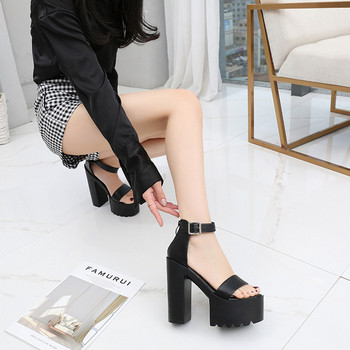 Дамски сандали на висок ток и платформа от еко кожа