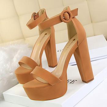 Дамски сандали с катарама и висок ток от еко велур - много цветове