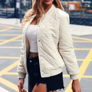 Casual γυναικείο μπουφάν με O-κολάρο και τσέπες σε τρία χρώματα