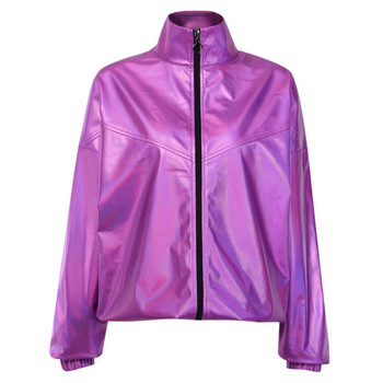 Σπορ-casual γυναικείο μπουφάν ευρύ μοτίβο σε μοβ χρώμα