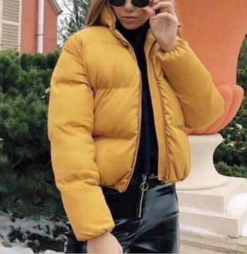 Μοντέρνο γυναικείο κοντό μπουφάν σε διάφορα χρώματα με φερμουάρ