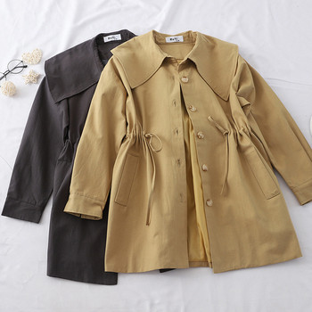 Γυναικείο μπουφάν για το φθινοπώρου με ζώνες και τσέπες σε διάφορα χρώματα