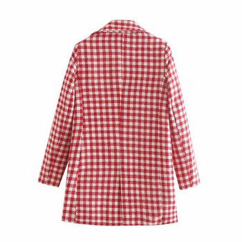 Дълго карирано палто с дълъг ръкав в червено-бял цвят