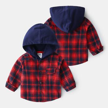 Нов модел детска карирана риза с качулка и копчета в червен цвят