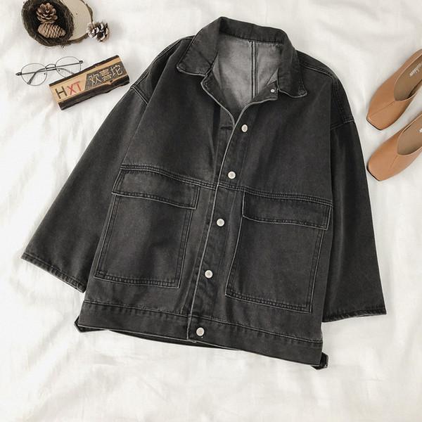 Casual γυναικεία τζιν μπουφάν με τσέπες σε μπλε και μαύρο χρώμα