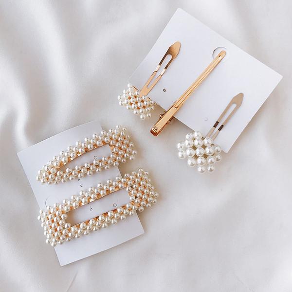 Ретро дамски фиби за коса с перли в комплект от две или три фиби