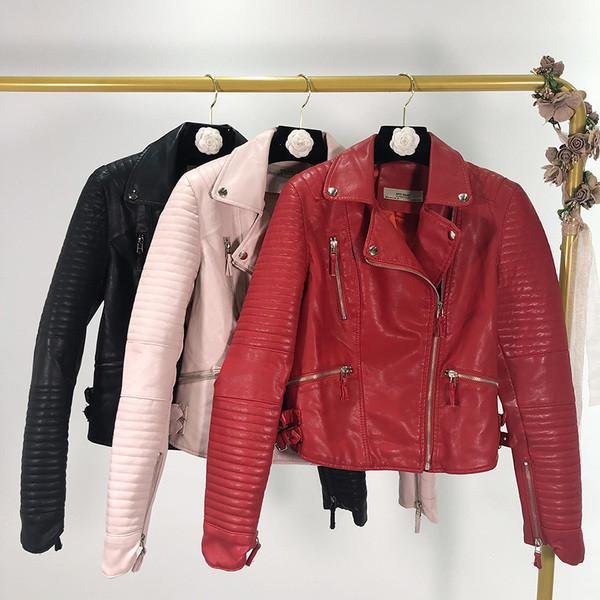 Μοντέρνο  γυναικέιο μπουφάν από οικολογικό δέρμα  σε κόκκινο, ροζ και μαύρο χρώμα
