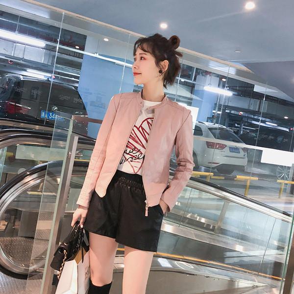 Γυναικείο έκο δερμάτινο μπουφάν με φερμουάρ σε ροζ και μαύρο χρώμα