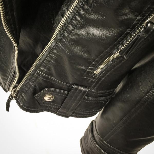 Νέο μοντέλο γυναικείο μπουφάν από οικολογικό δέρμα σε μαύρο χρώμα