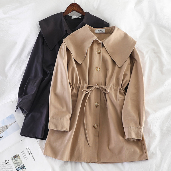 Μοντέρνο  γυναικείο παλτό με κουμπιά και κορδόνια  σε διάφορα χρώματα