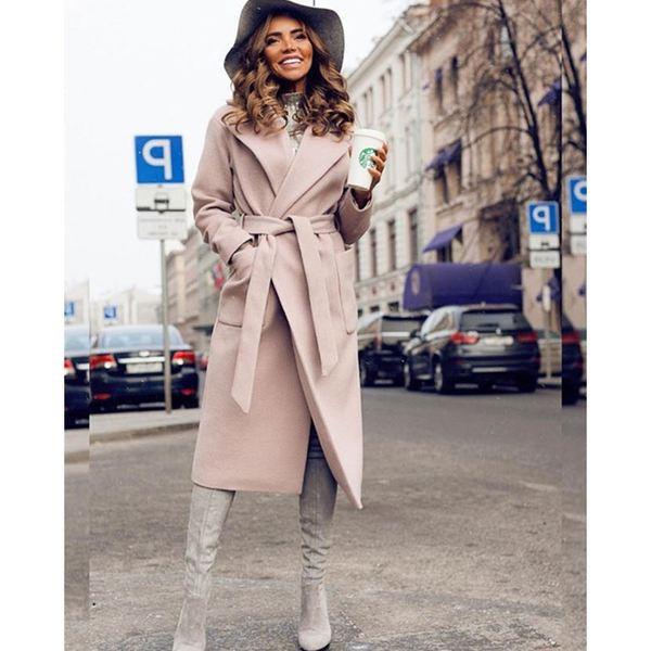 Модерно дамско дълго палто с джоб и връзки в четири цвята