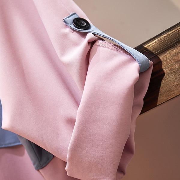 Модерно дамско дълго палто с джоб в розов цвят