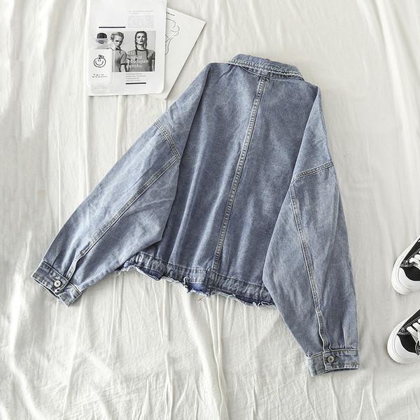 Γυναικέιο μπουφάν τζιν σε μαύρο και μπλε χρώμα - ευρύ μοντέλο