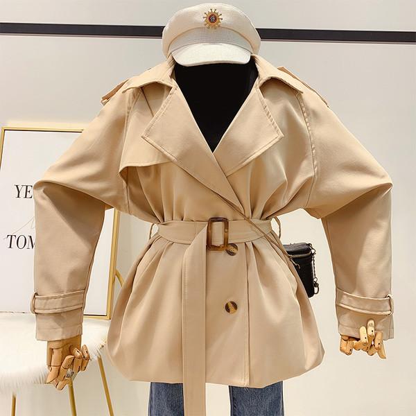 Дамско модерно палто с колан в два цвята