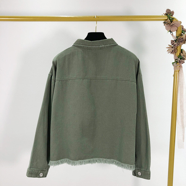 Γυναικείο τζιν μπουφάν με τσέπες σε πράσινο χρώμα
