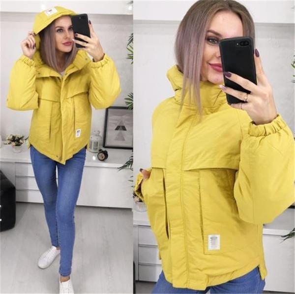 Μοντέρνο γυναικείο μπουφάν με κουκούλα και τσέπη σε διάφορα χρώματα