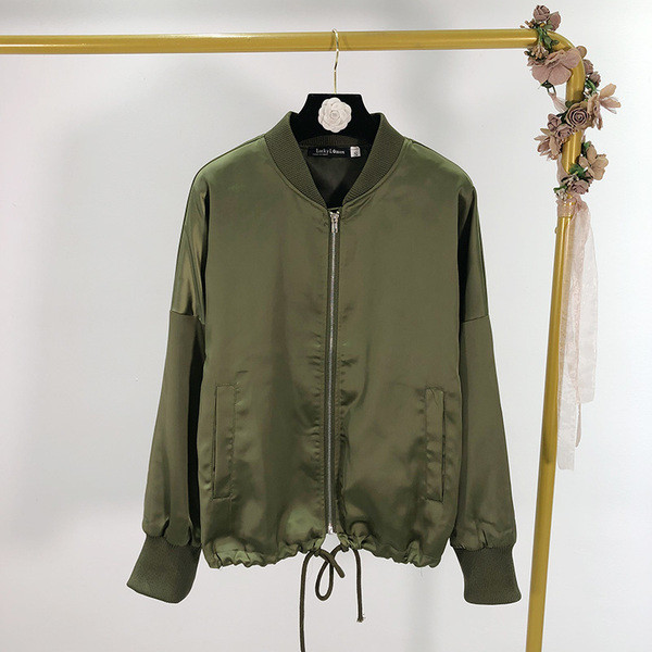 Γυναικείο  λεπτό μπουφάν με φερμουάρ καικορδόνια σε πράσινο χρώμα