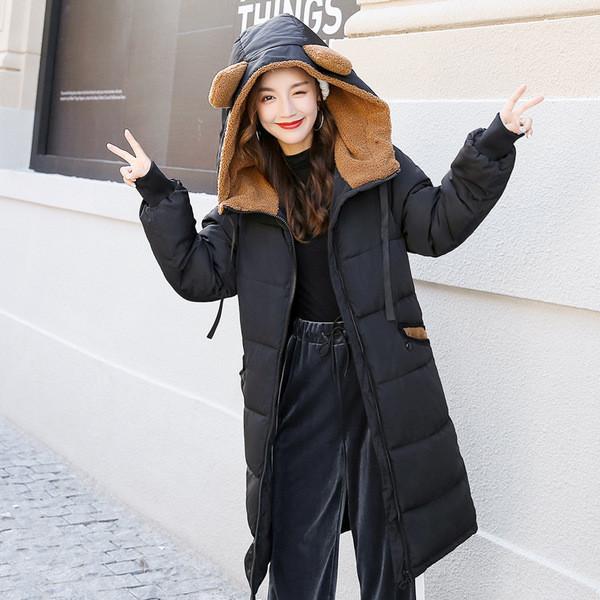 Νέο μοντέλο γυναικείο μακρύ  μπουφάν με κουκούλα σε τρία χρώματα