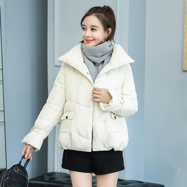 Μοντέρνο χειμερινό γυναικείο μπουφάν χωρίς κουκούλα με κουμπιά