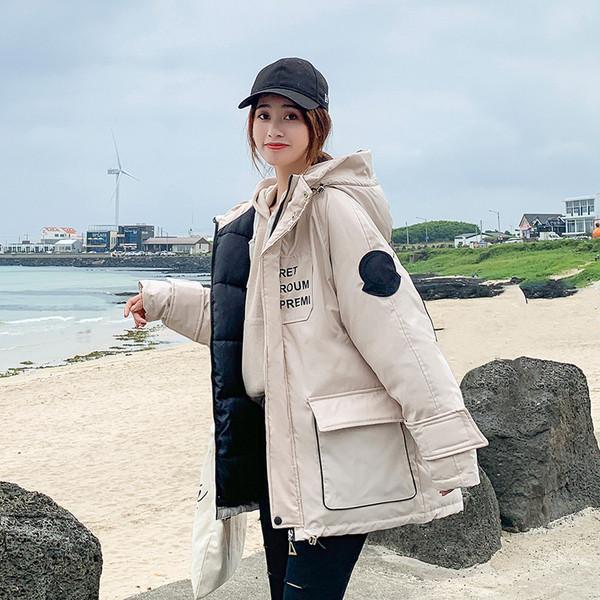 Χειμερινό  γυναικείο μπουφάν με τσέπη και κουκούλα σε διάφορα χρώματα