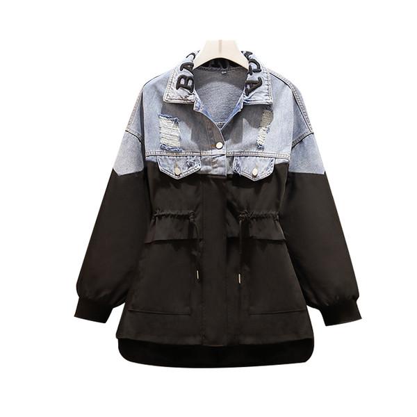 Μοντέρνο γυναικείο μπουφάν για το φθινόπωρο με ζώνη συη μέσης σε μαύρο και άσπρο χρώμα