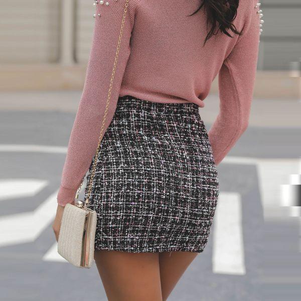Модерна дамска пола с висока  талия в черен цвят