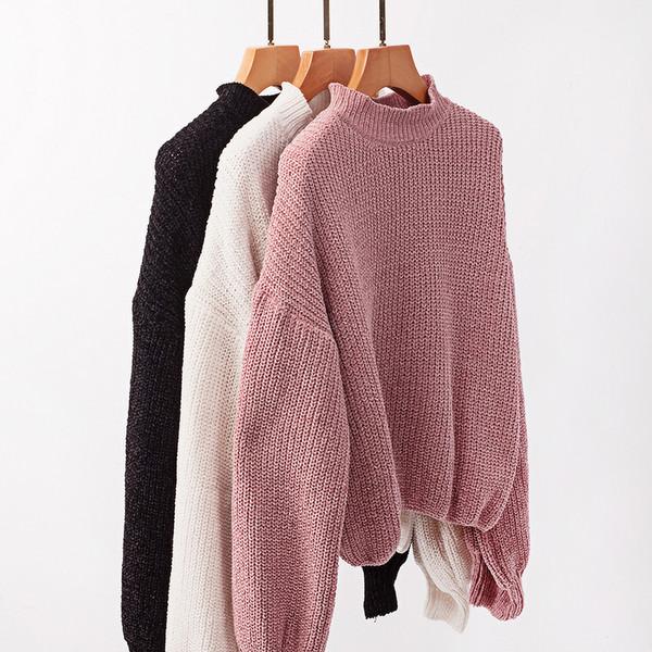 Дамски пуловер в три цвята с О-образно деколте