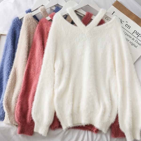 Модерен дамски пуловер в четири цвята с V-образно деколте