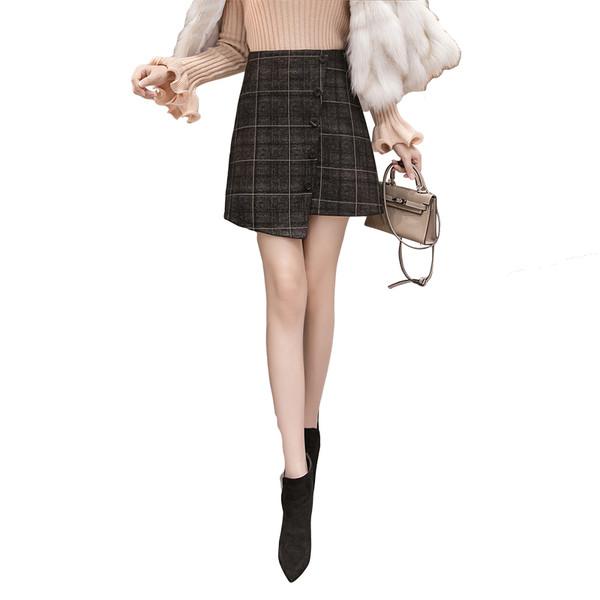 Дамска модерна карирана пола - асиметричен модел