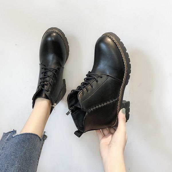 Дамски боти от еко кожа с връзки в черен и кафяв цвят