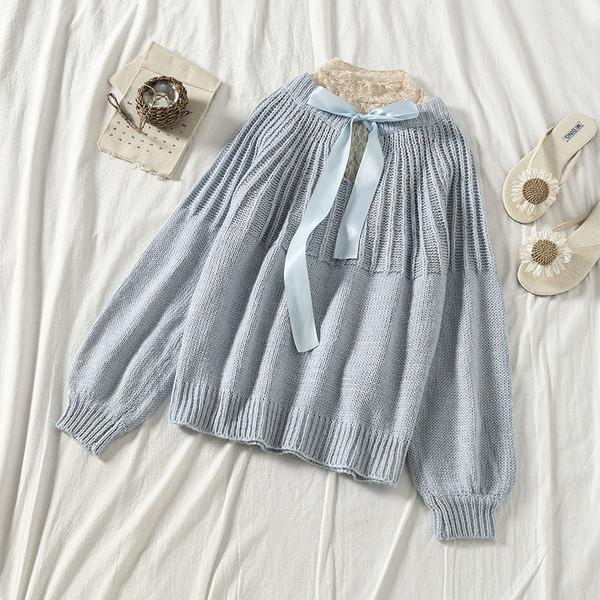 Дамски пуловер с дантела и връзка в няколко цвята