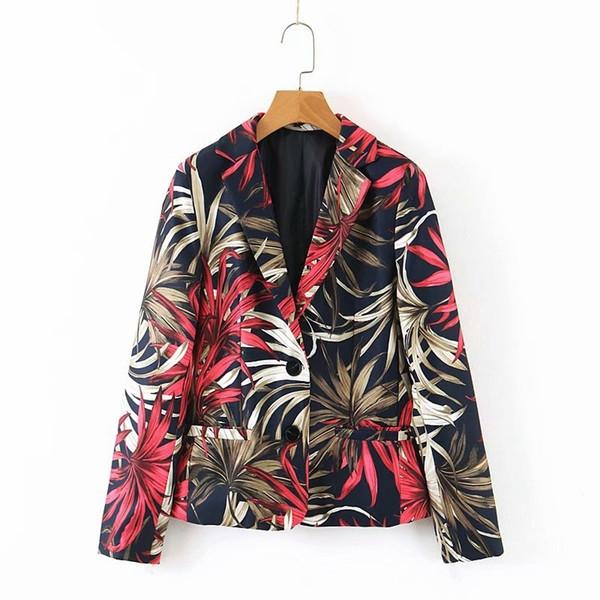 Дамско модерно сако с флорален десен
