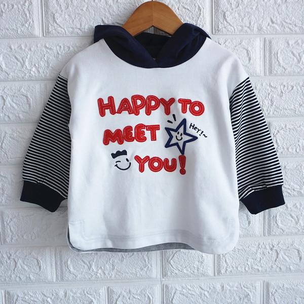 Нов модел детска ежедневна блуза с качулка в бял цвят замомчета