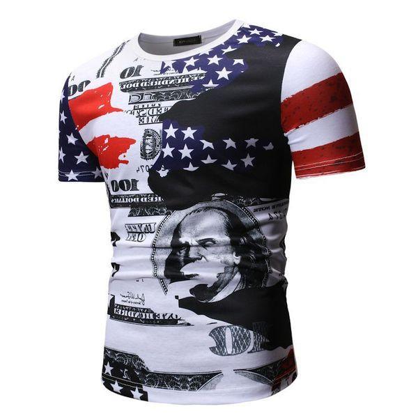 Мъжка ежедневна тениска с къс ръкав и  О-образно деколте