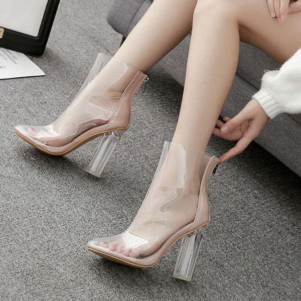 Модерни дамски обувки на висок ток с цип