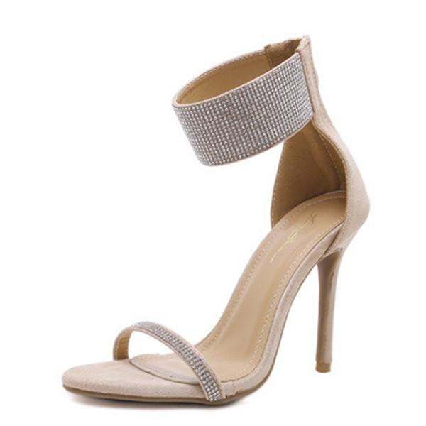 Елегантни дамски обувки на висок ток с камъни в два цвята